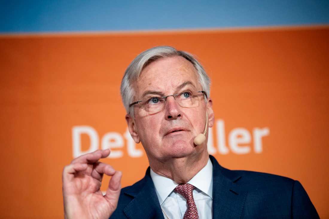 EU:s chefsförhandlare om Brexit, Michael Barnier, vid ett seminarium i Stockholm.
