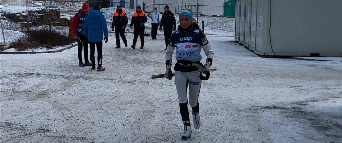 Therese Johaug på plats i Ulricehamn.
