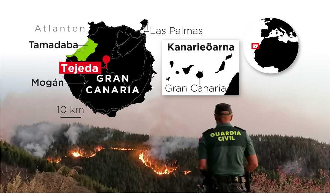 Branden hotar orten Mogán på den sydöstra delen av ön.