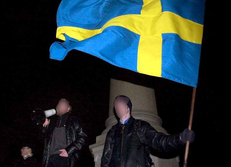 Nationaldemokrater demonstrerar på Karl XII:s dödsdag den 30 november