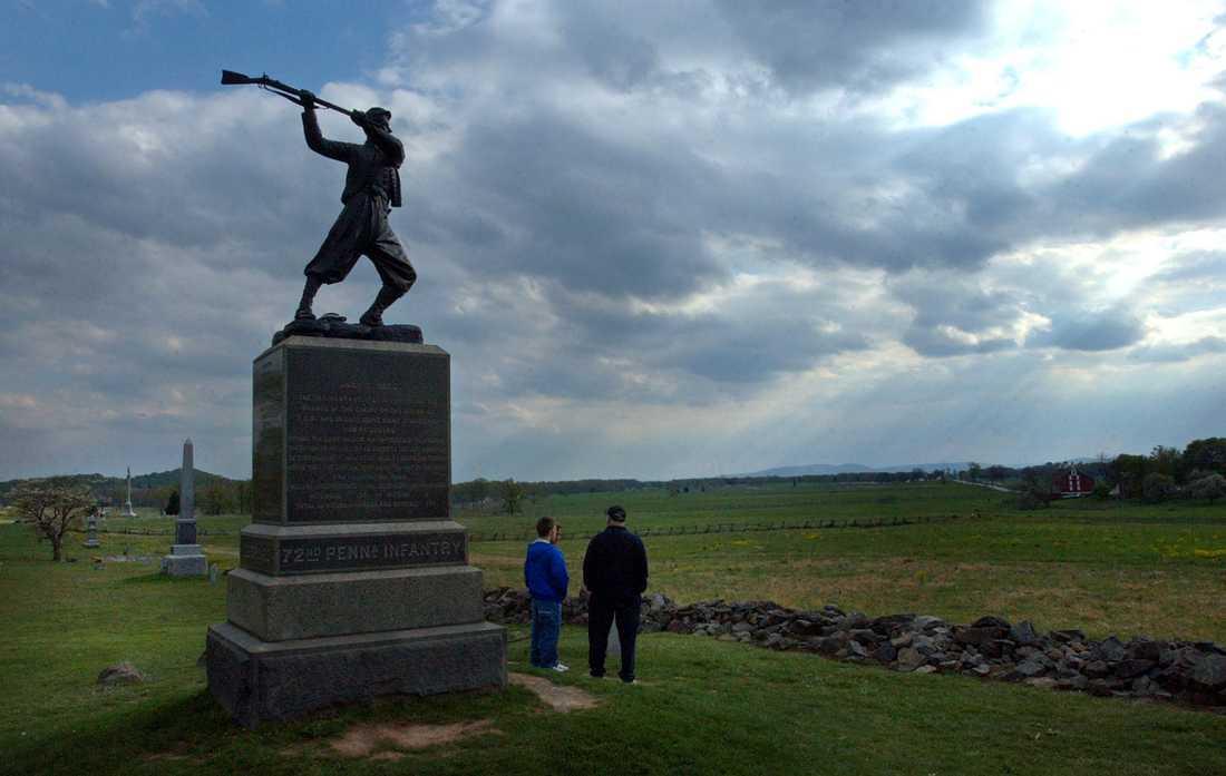 Monument för 72:a frivilliga infanteriregementet från Pennsylvania på slagfältet i Gettysburg
