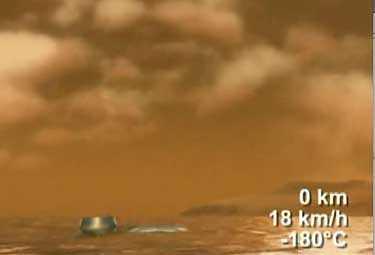 Illustration av Huygens mjuklandning på Saturnus måne Titan