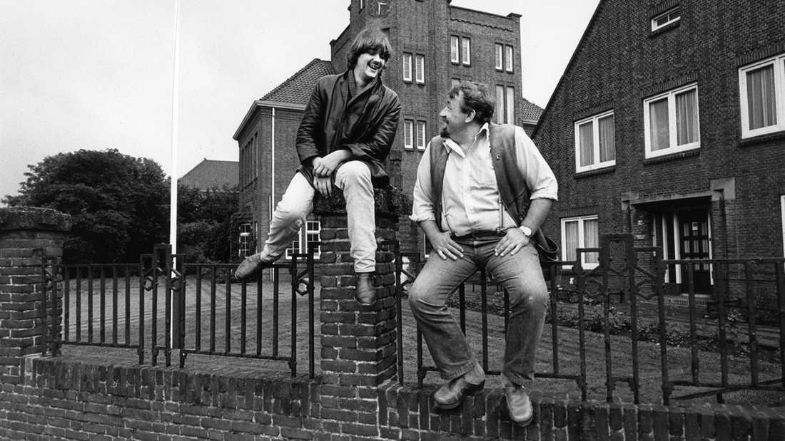 Cornelis Vreeswijk med sonen Jack i Nederländerna  1981.