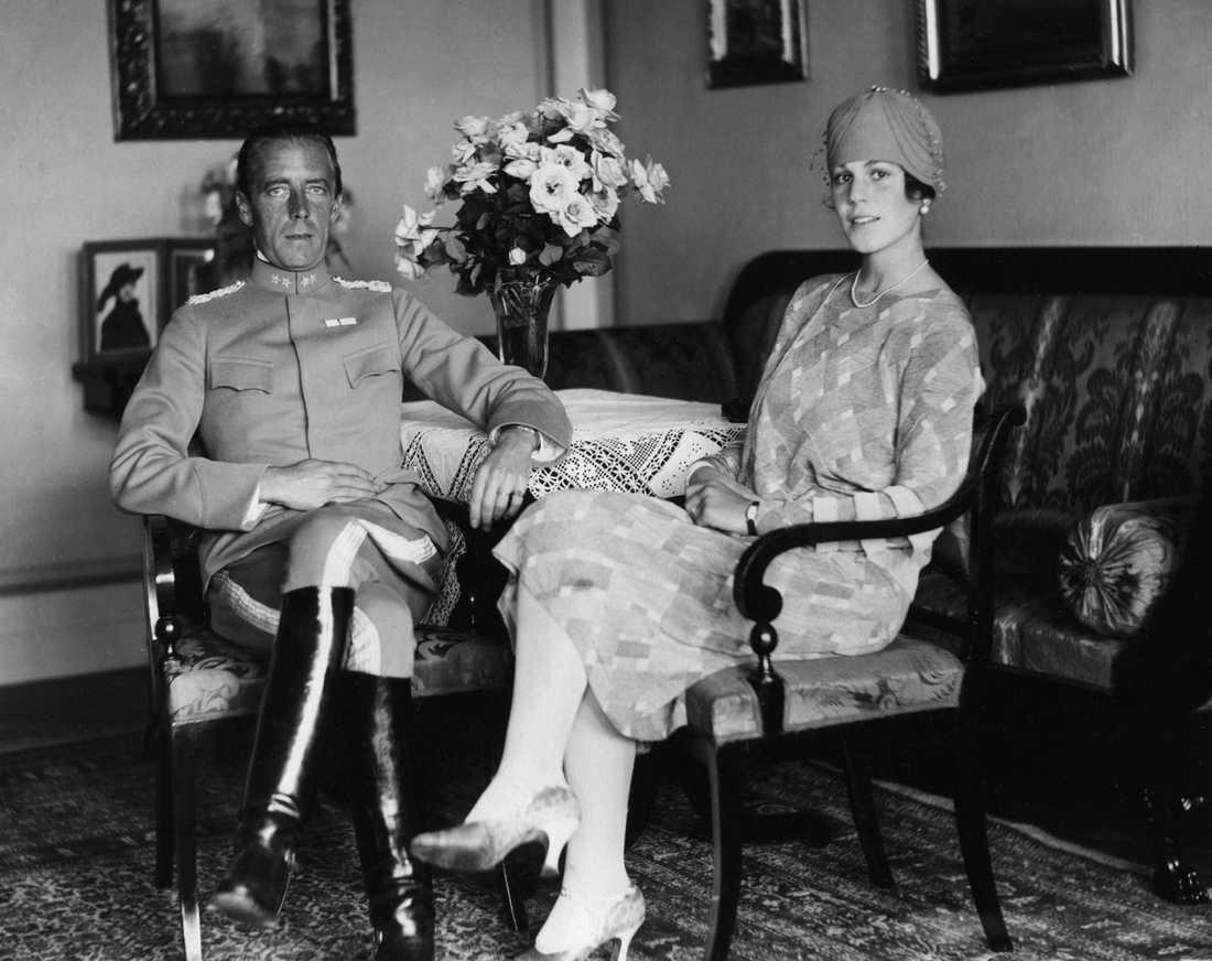 Greve Folke Bernadotte tillsammans med hustrun Estelle Manville.