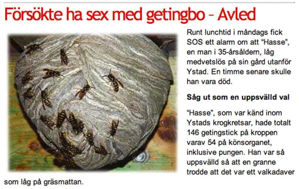 Faksimil från skämsajten Nyheterna Sverige.