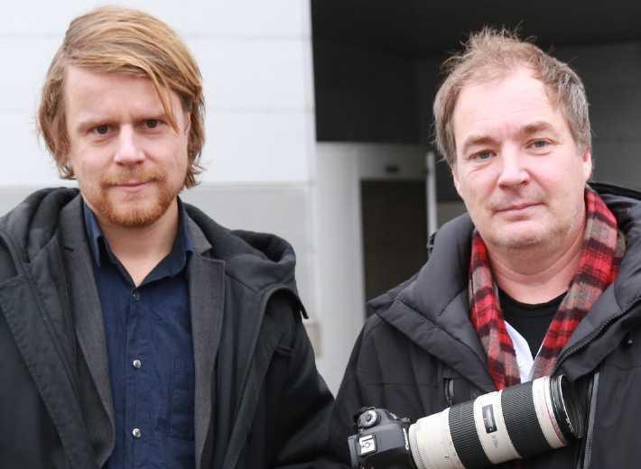 Aftonbladets Staffan Lindberg och fotografen krister Hansson är på plats.