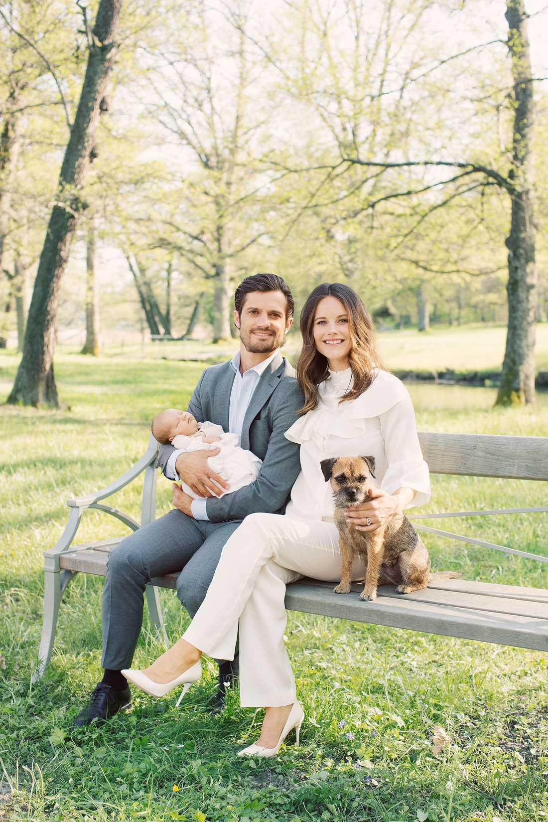 Prinsparet Carl Philip och Sofia tackar för grattishälsningarna i samband med sonen Alexanders födelse. Här tillsammans med borderterriern Siri.