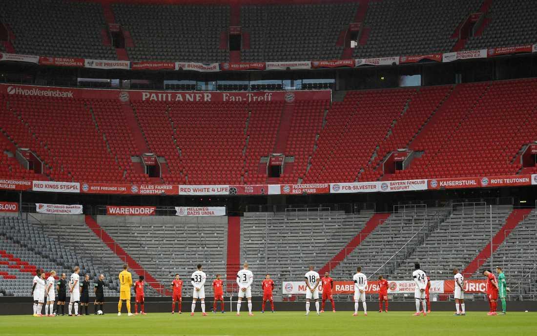 Bayern München och Eintracht Frankfurt på ett ödsligt Allianz Arena i helgen.