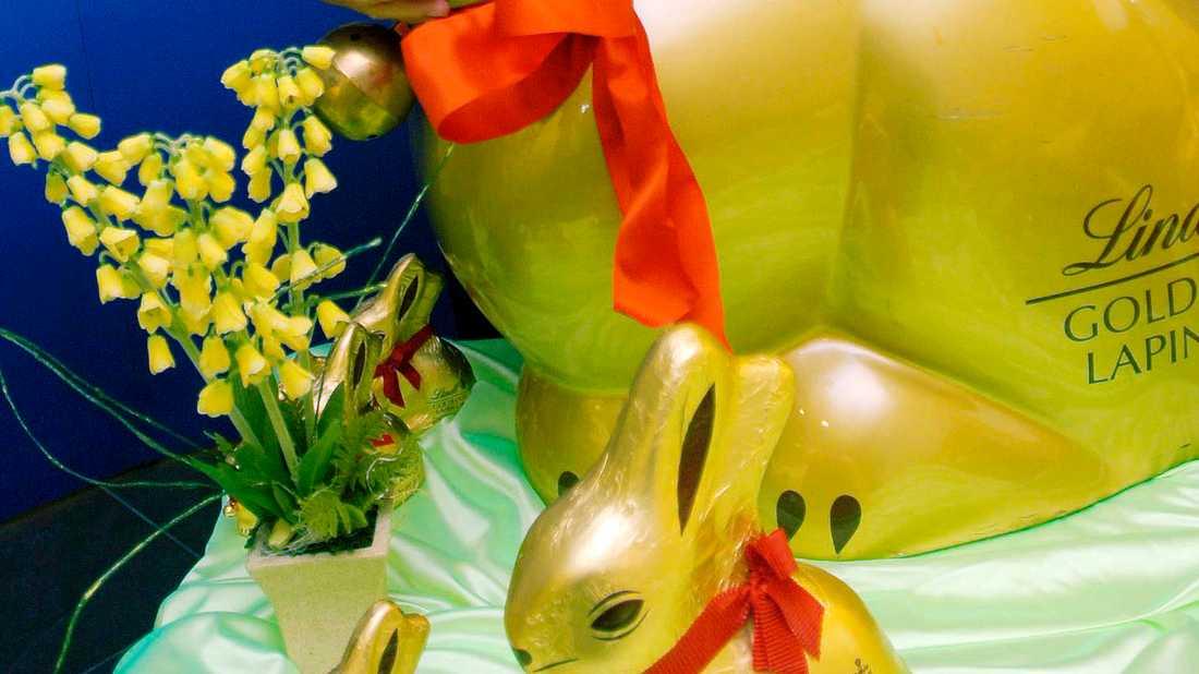 Lindt, känd för sina guldfärgade kaniner, har motvind i coronakrisen. Arkivbild.