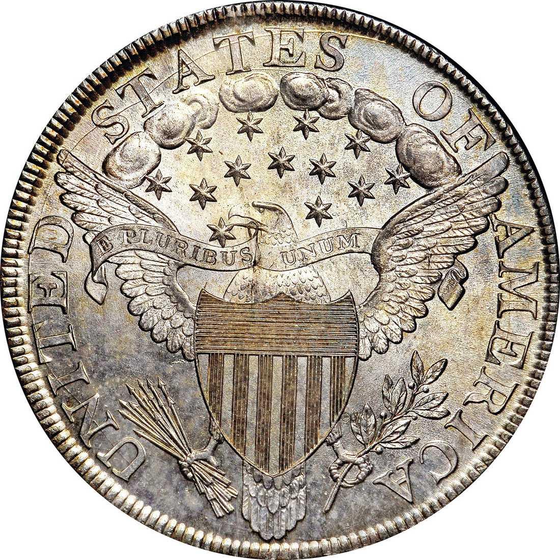 Baksidan av dollarmyntet.