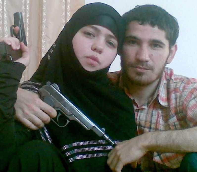 Dzhennet Abdurakhmanova pekas ut som en av självmordsbombarna. Här poserar hon tillsammans med sin pojkvän Umalat Magomedov.