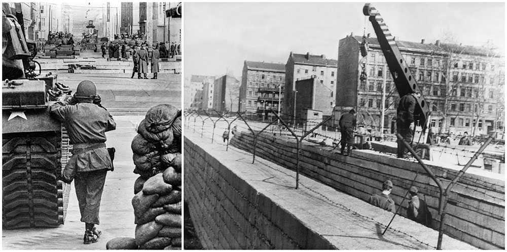 Vid gränsövergången i Berlin stod amerikanska och sovjetiska stridsvagnar riktade mot varandra på vars sin sida av Friedrichstrasse. På högra bilden ser man muren byggas.