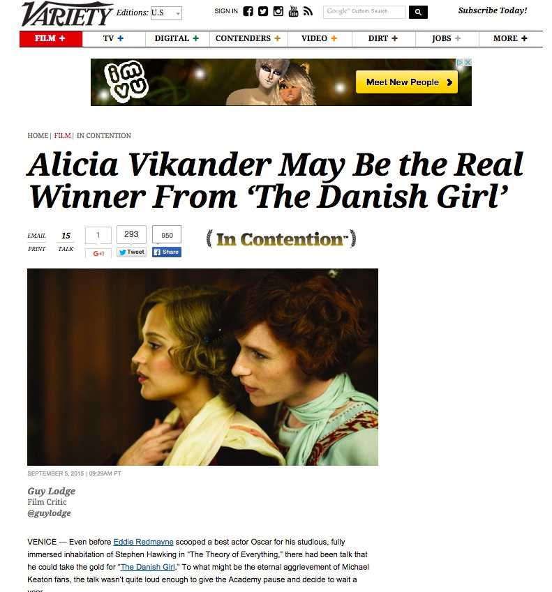 "Vikander får svallande beröm i branschtidningen Varietys recension av ""The danish girl""."