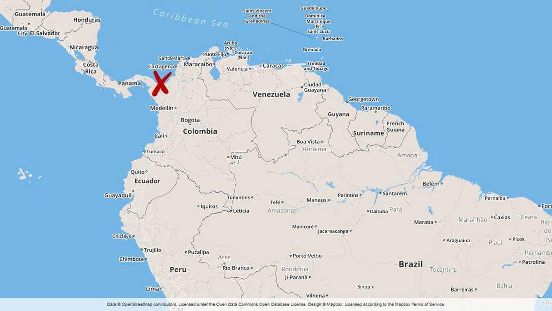 Olyckan inträffade vid Colombias kust i nordvästra delen av landet.