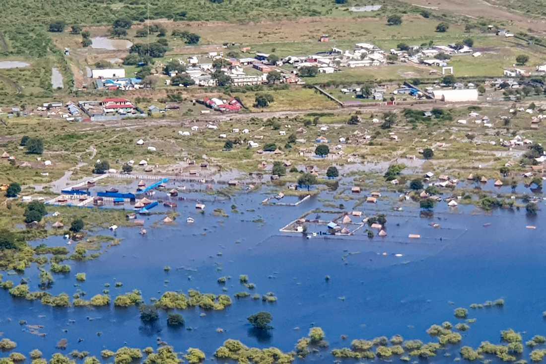 Ett översvämmat område nära staden Pibor i Sydsudan.