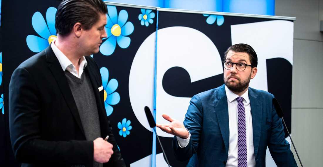 Jimmie Åkesson och Oscar Sjöstedt presenterade SD:s skuggbudget i riksdagen i går.