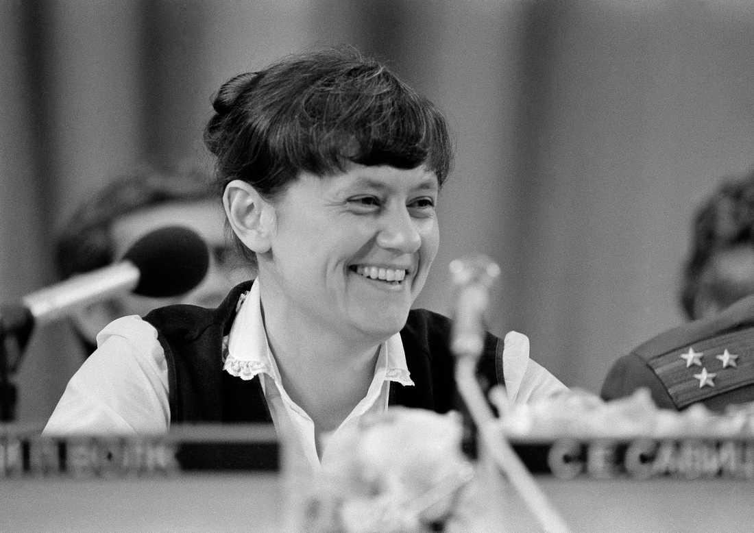 Svetlana Savitskaja var den andra kvinnan i rymden, och den första att göra en rymdpromenad. Hon har även arbetat som testpilot och ingenjör, och gav sig sedermera in i politiken. Arkivbild.