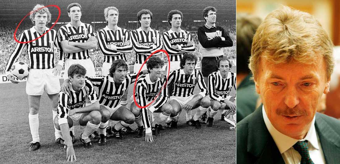 Zbigniew Boniek (uppe till vänster) och Paolo Rossi (nedre raden) i ett lagfoto med Juventus.