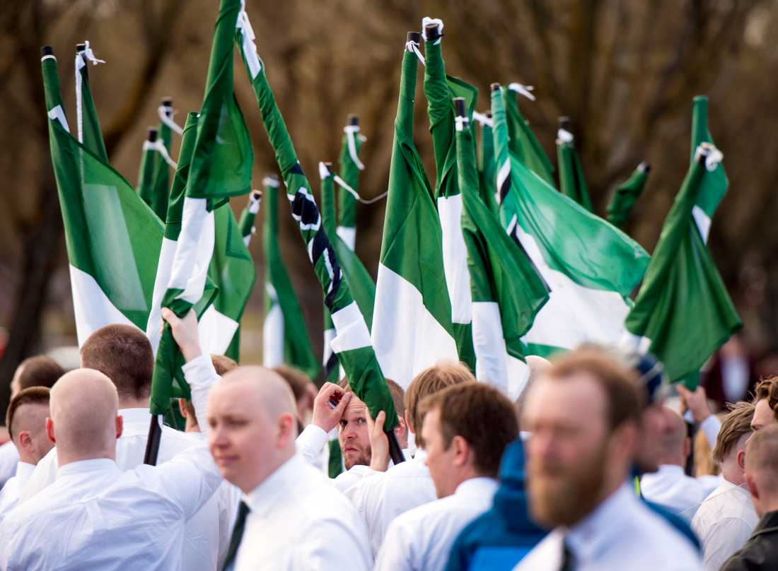 Nazistiska Nordiska motståndsrörelsens (NMR) demonstration i Borlänge 2016.
