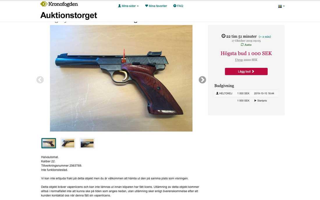 """""""De vapen vi säljer är vapen som den skuldbelagda har licens för och vi säljer bara till den som kan visa upp en licens från polisen"""", säger Martin Göthman på Kronofogdemyndigheten."""