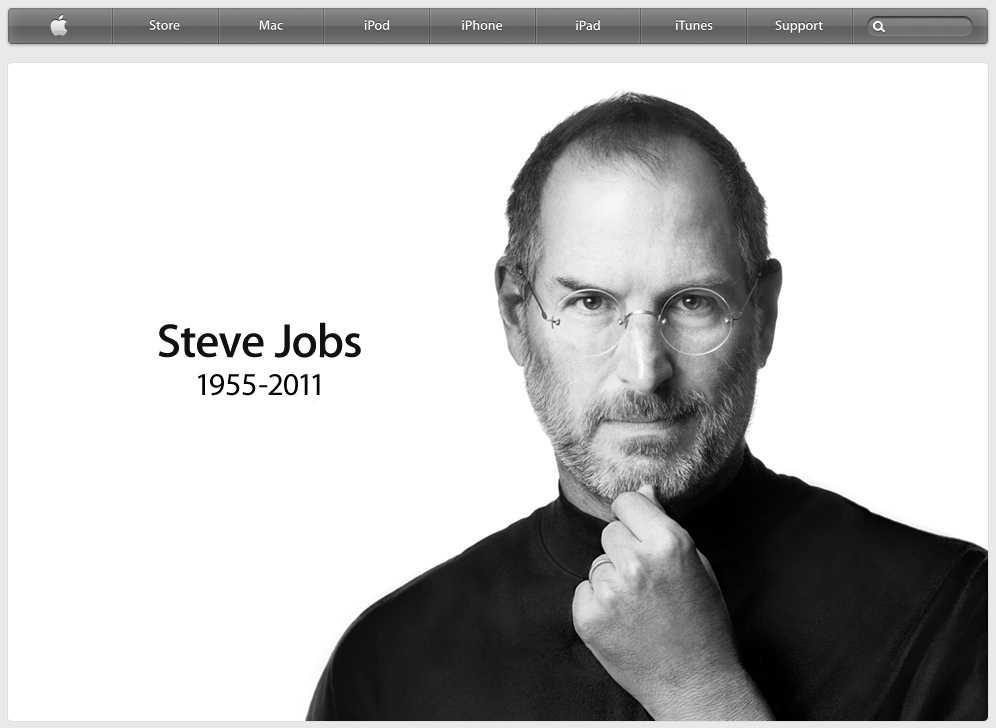 Apples hemsida efter dödsbeskedet.