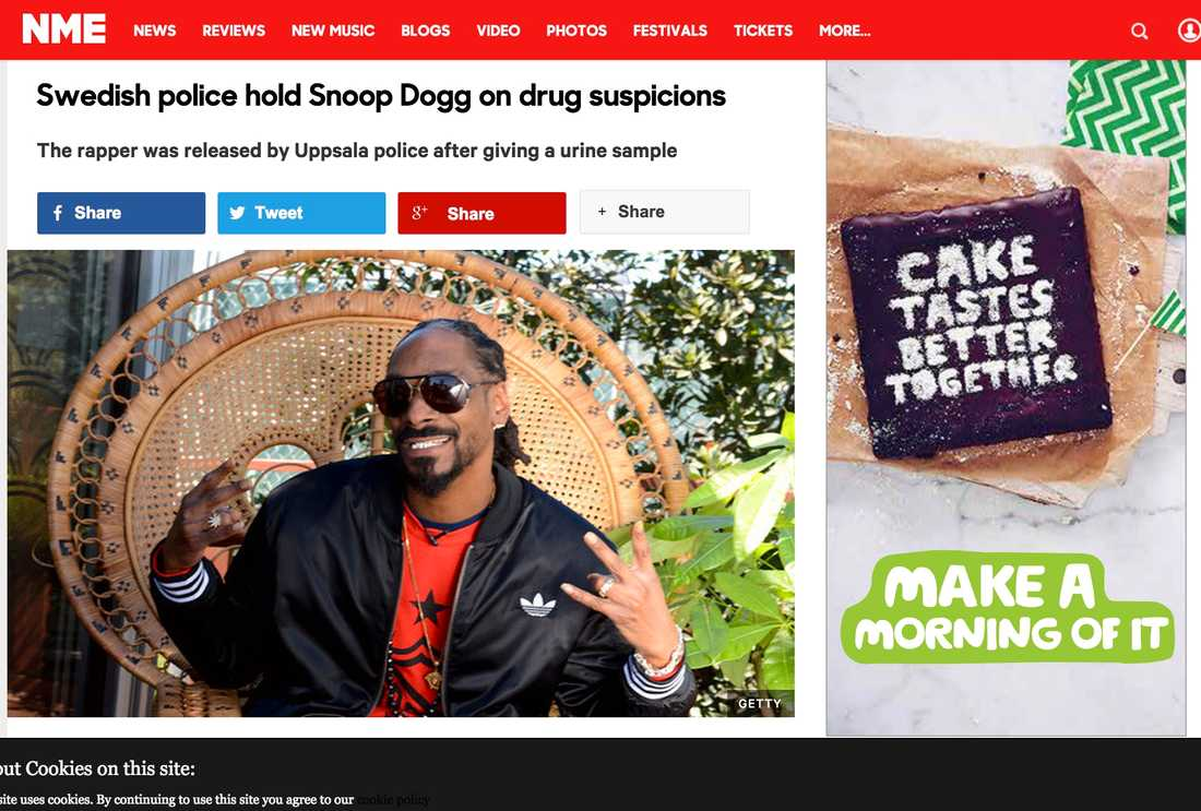 NME Swedish police hold Snoop Dogg on drug suspicions