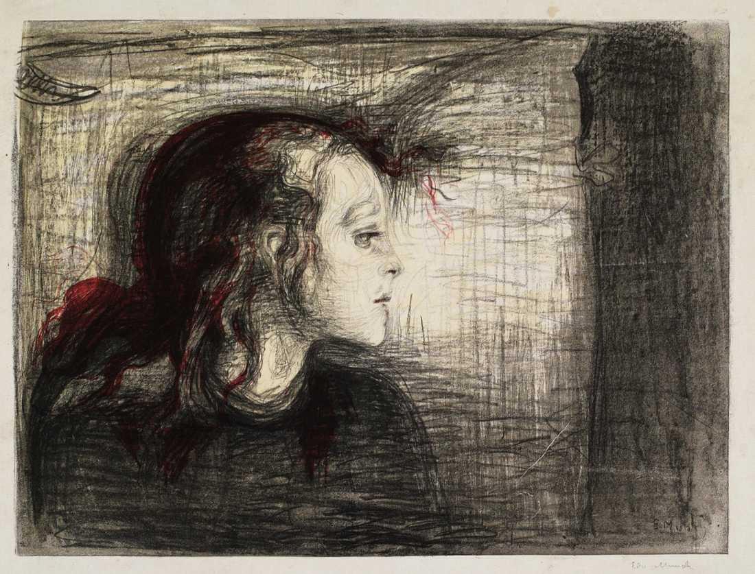 """Vid sidan Edvard Munchs fotografier visas en del av hans grafiska konst, däribland """"Det sjuka barnet"""" från 1896. Pressbild."""
