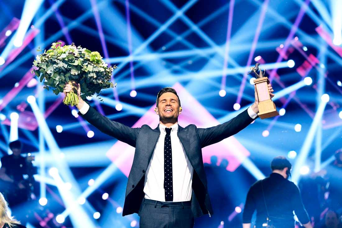Robin Bengtsson efter vinsten i Melodifestivalen.