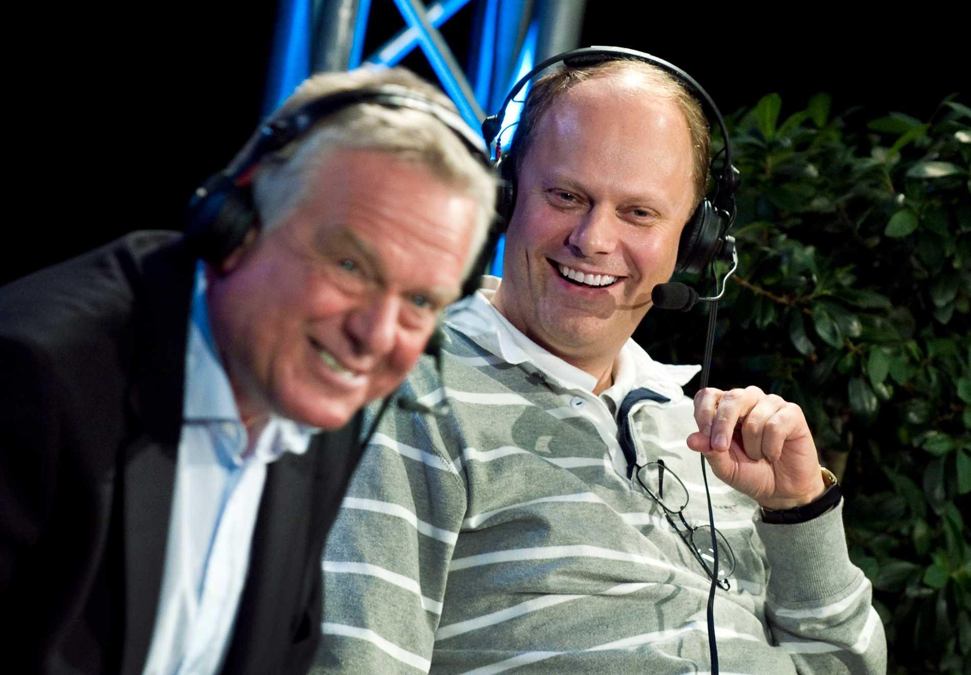 Tommy Engstrand och Lasse Granqvist på plats i Radiohuset när Sportextra fyllde 50 år med nuvarande och gamla medarbetare på plats i Radiohuset