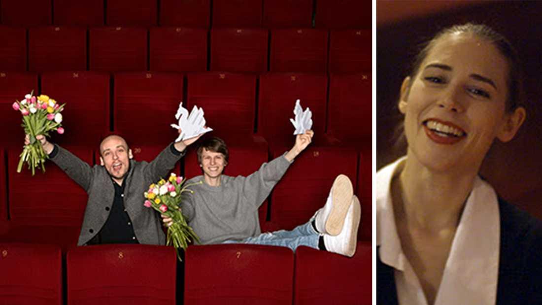"""Regissören Ronnie Sandahl och skådespelaren Erik Enge jublar över segern för """"Tigrar"""". Till höger Ninja Thyberg, som tog hem kritikerpriset för filmen """"Pleasure""""."""