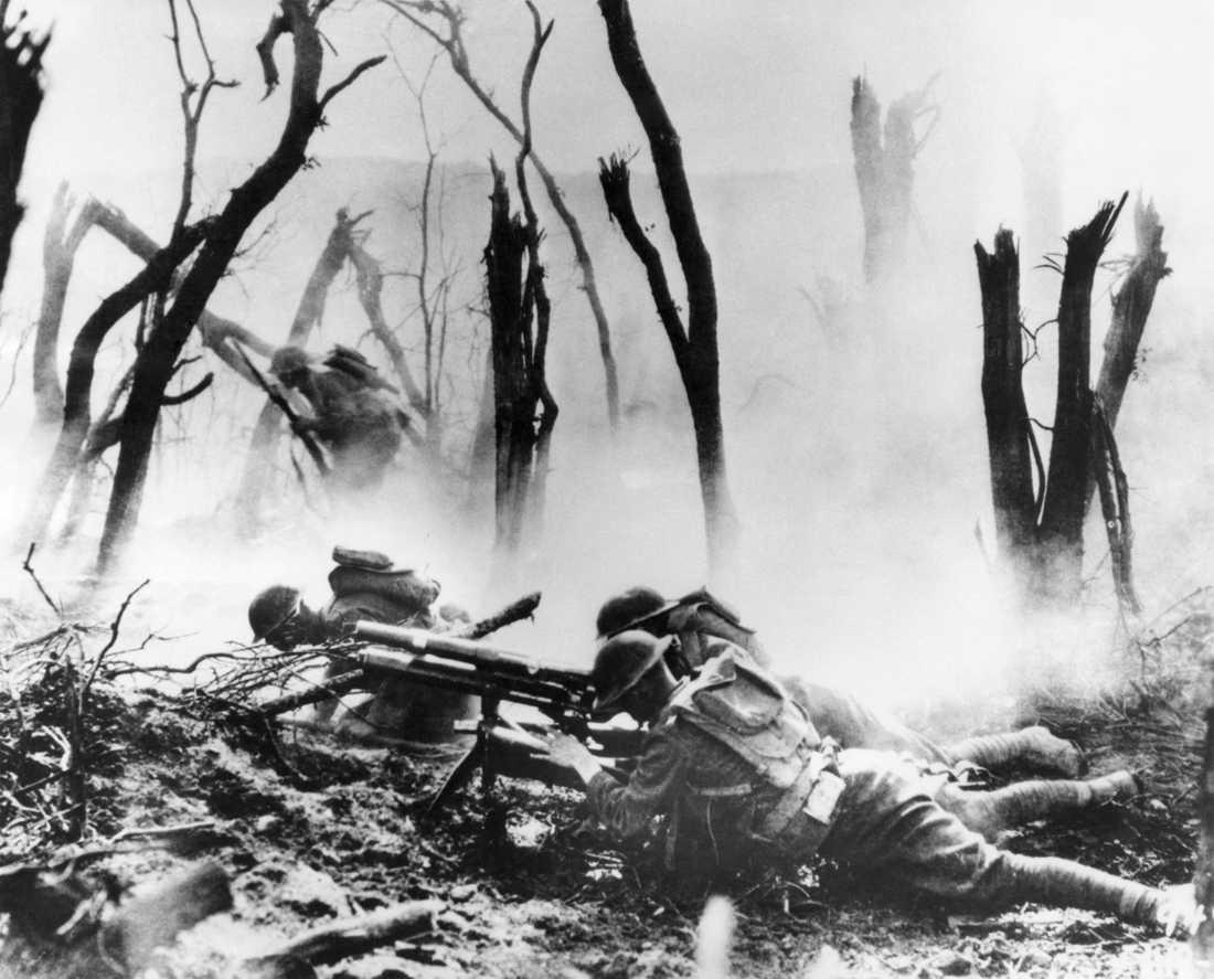 Amerikanska soldater vid Meuse-Argonneoffensiven i nordöstra Frankrike 1917.