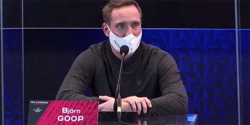 Björn Goop vid presskonferensen inför Prix d'Amérique.