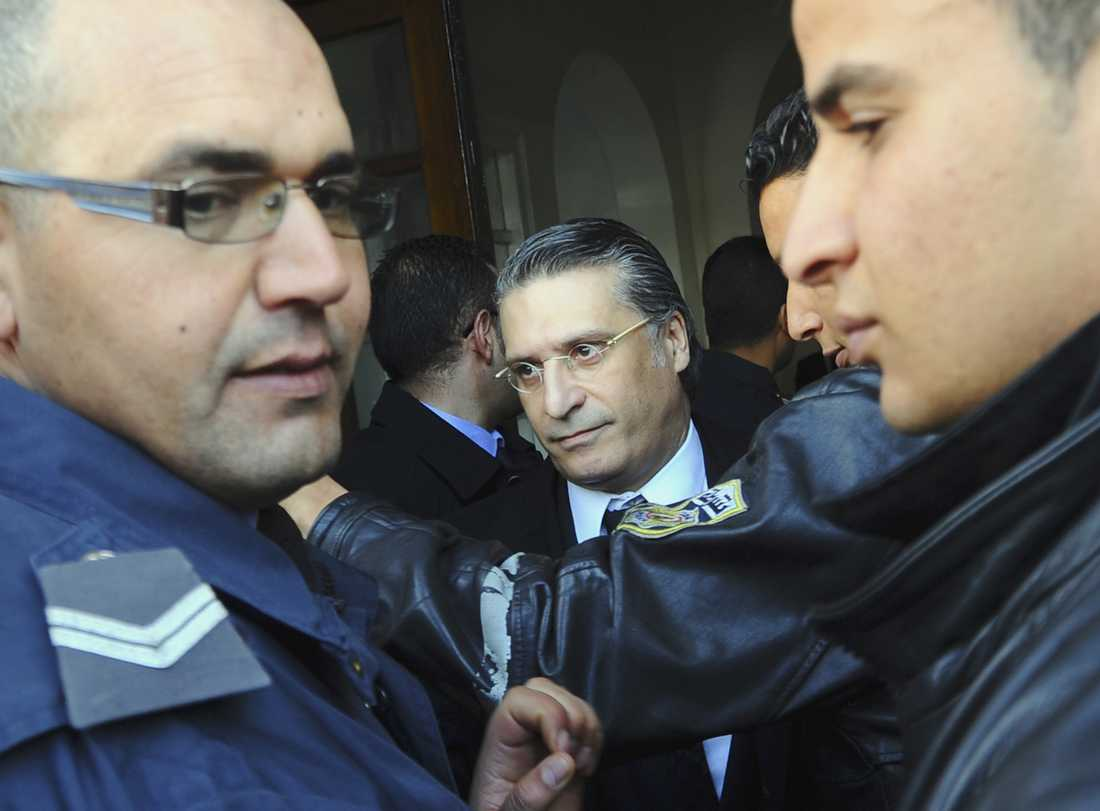 Nabil Karoui, här på en bild tagen 2012 då han dömdes för hädelse och störande av allmän ordning för att hans tv-kanal visat en fransk-iransk tecknad film. Arkivbild.
