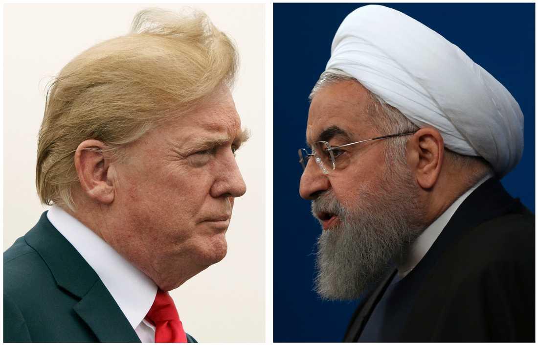 USA:s president Donald Trump (t v) och Irans president Hassan Rohani i ett bildmontage. Arkivbilder.
