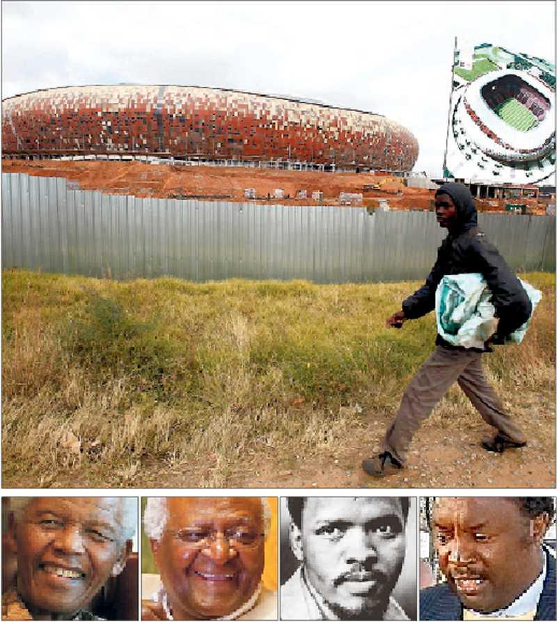 frihetsledare Nya arenan Soccer City ligger bredvid slumområdet Soweto i Johannesburg. Hem för landets svarta revolt och flera av deras ledare, som Nelson Mandela, Desmond Tutu, Steve Biko och fotbollsstjärnan Jomo Sono.