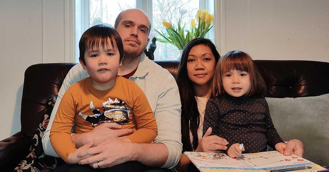 Christalline tillsammans med maken Joel och barnen Astor och Elsa.
