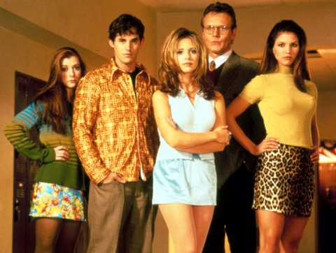 """Buffy och vampyrerna"" med Alyson Hannigan, Nicholas Brendon, Sarah Michelle Gellar, Anthony Head och Charisma Carpenter."