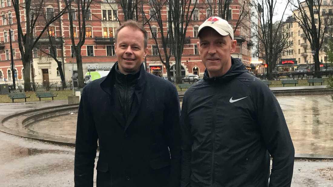 Karl Eidem och Jale Poljarevius inför debutromanen.