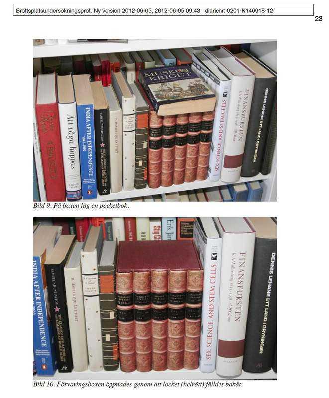 """Gömda i böcker  Nycklarna till kassaskåpet låg gömda i en låda maskerad som en rad böcker placerad i makarnas sovrum, där också kassaskåpet fanns. """"Har du känsliga saker i ett kassaskåp är det bra om du inte förvarar nyckeln i hemmet"""", säger Håkan Franzén, produktspecialist på Trygg Hansa."""