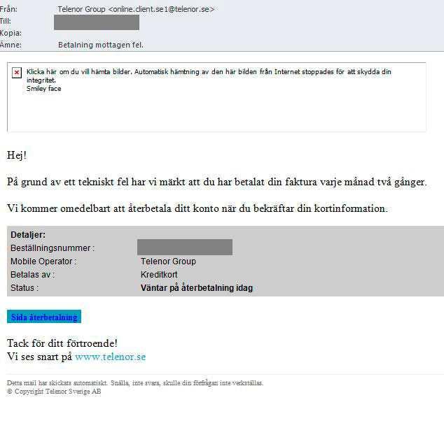 Det här bluffmejlet har skickats ut till Telenors kunder. Nu varnar operatören för det falska meddelandet.