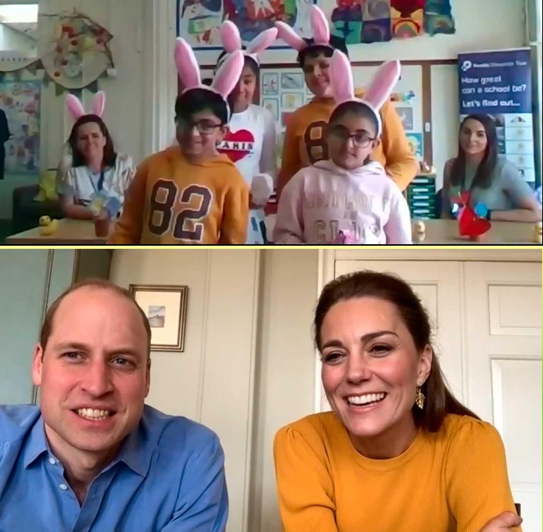 William och Kate i ett videosamtal med Casterton Primary Academy.