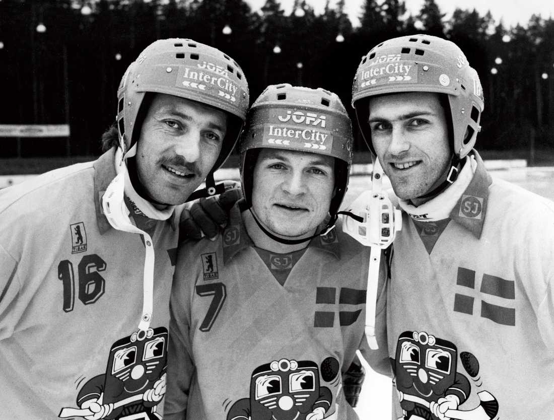 Fosshaug med två andra legendarer, Mikael Arvidsson och Ola Johansson, under VM 1989.