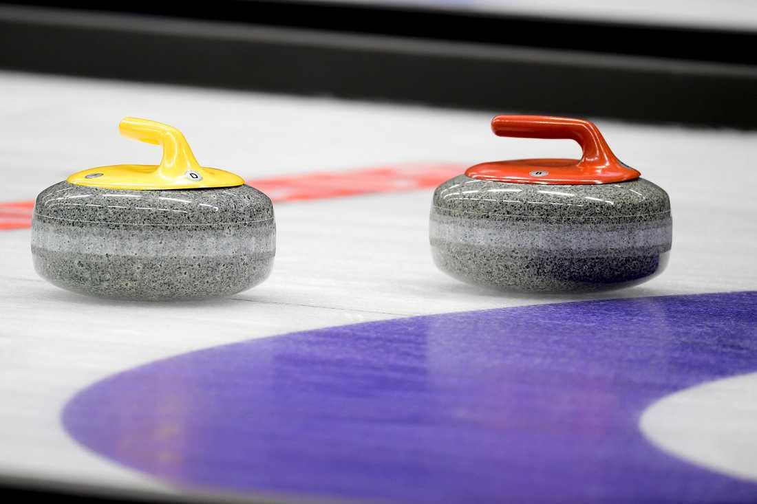 Curling-VM skjuts upp. Arkivbild
