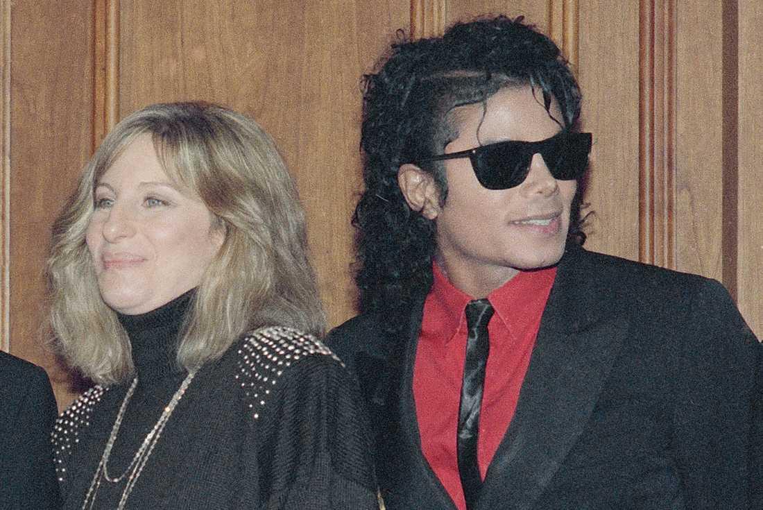 Barbra Streisand och Michael Jackson år 1986.