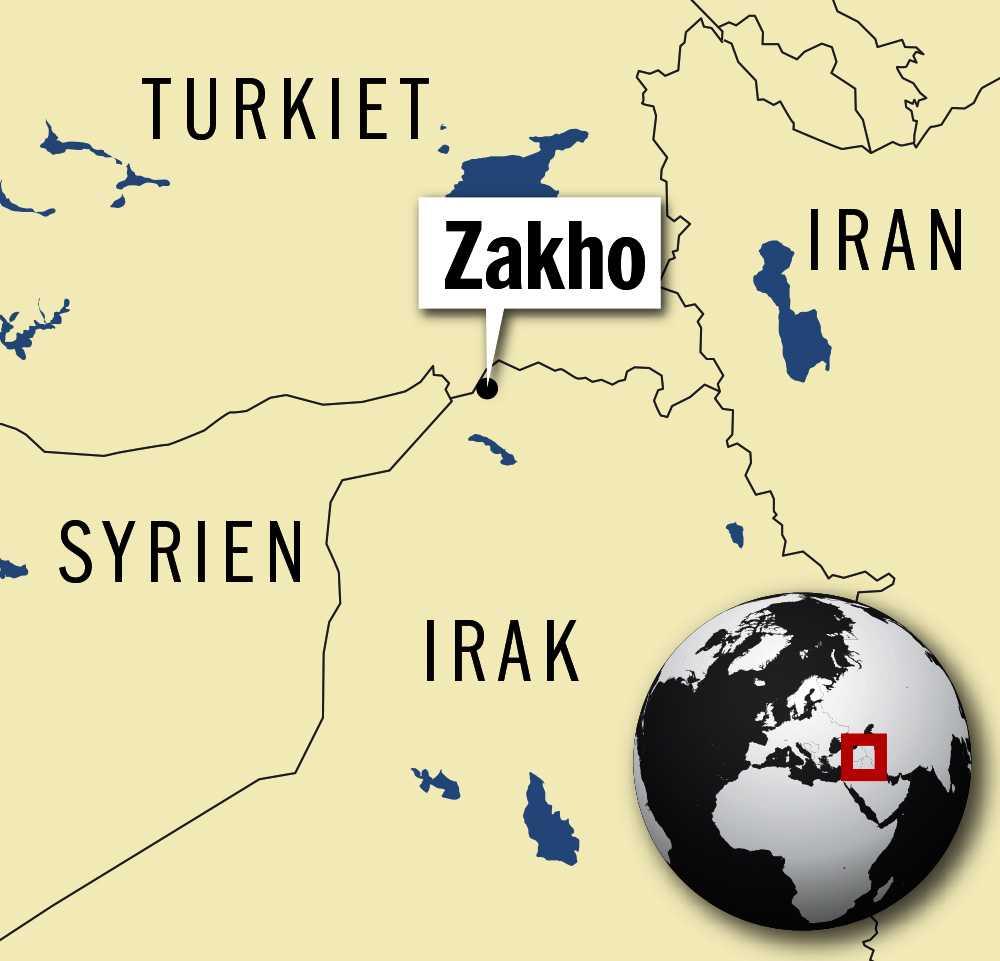 Staden Zakho ligger nära både Turkiet och Syrien.
