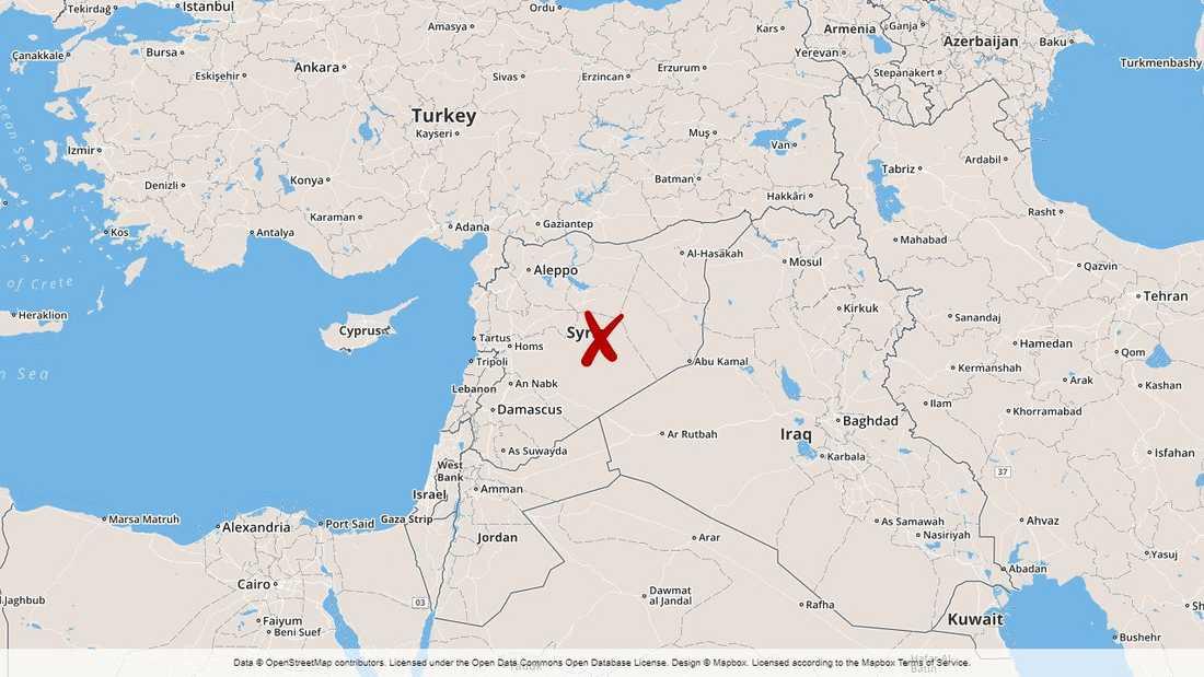 Händelsen inträffade över Syrien.