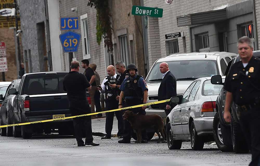 Polisavspärrningar i området där den misstänkte greps.