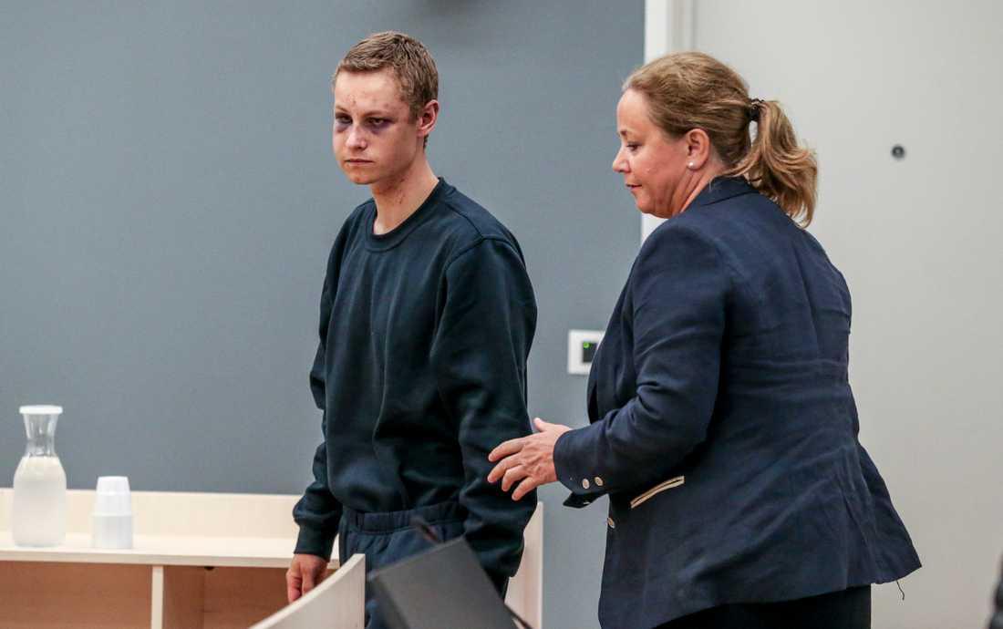 Misstänkte terroristen Philip Manshaus i rätten i Oslo.