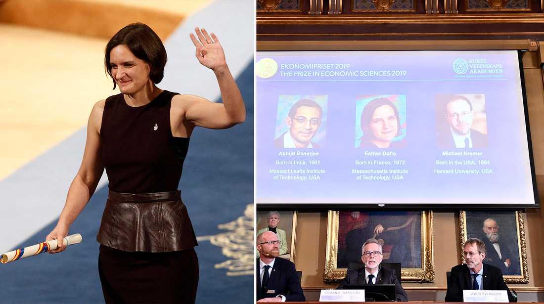 Esther Duflo blir andra kvinna att få Nobelpriset i ekonomi, tillsammans med Abhijit Banarjee och Michael Kremer.