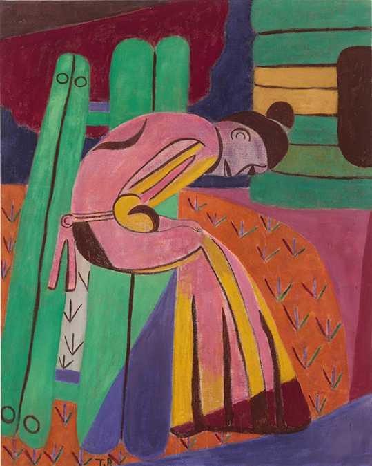 """Tal R: """"The Rosa Bend"""", 2016, pigment och harlim på duk."""